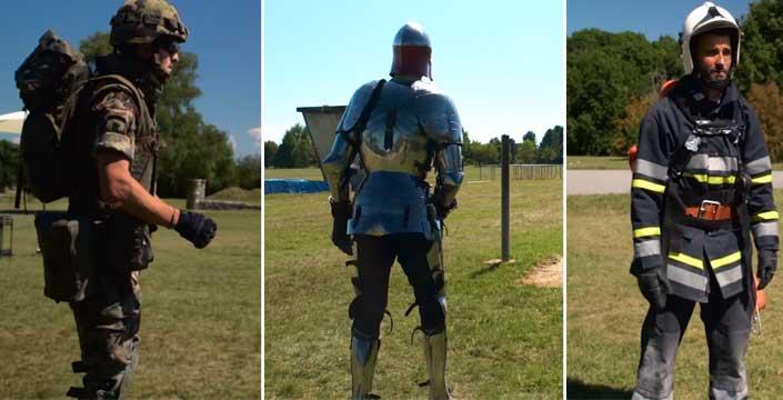 Un soldado moderno, un bombero y un caballero con armadura... Una curiosa carrera de obstáculos